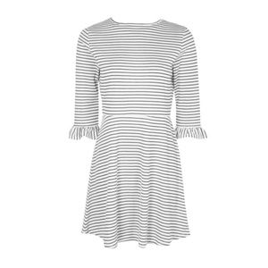 Boohoo Fit & Flare Black White Striped Dress 6